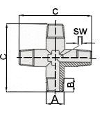 Переходники крестовина 1262/1 крест MMMM 1/8, 1262/2 крест MMMM 1/4, 1262/3 крест MMMM 3/8, 1262/4 крест MMMM 1/2 GAV