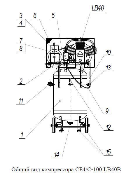 Общий вид компрессора СБ4/С-100.LB40В
