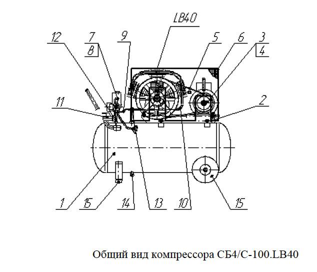 Общий вид компрессора СБ4/С-100.LB40