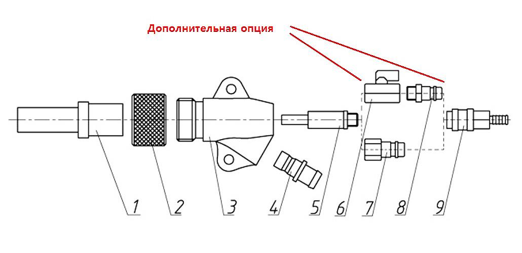 Конструкция абразивоструйного пистолета Gi-AUTO