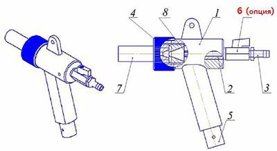 Конструкция абразивоструйного пистолета GI