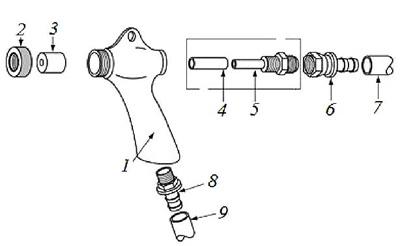 Конструкция абразивоструйного пистолета SGI